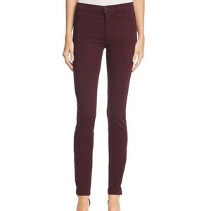 J Brand luxe sateen mid-rise skinny deep mulberry